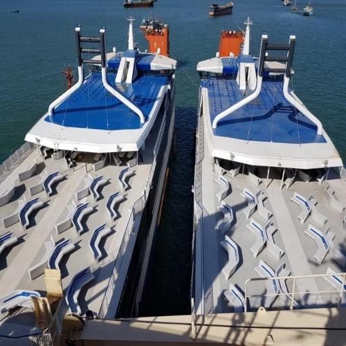Thi công đóng mới  tàu nhôm 2 thân DOCKSEN H387.H388